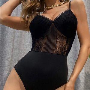 Black Floral Lace Cami V Neck Bodysuit